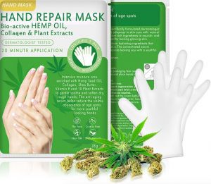 CBD Hand Mask with Hemp Flower and White Gloves